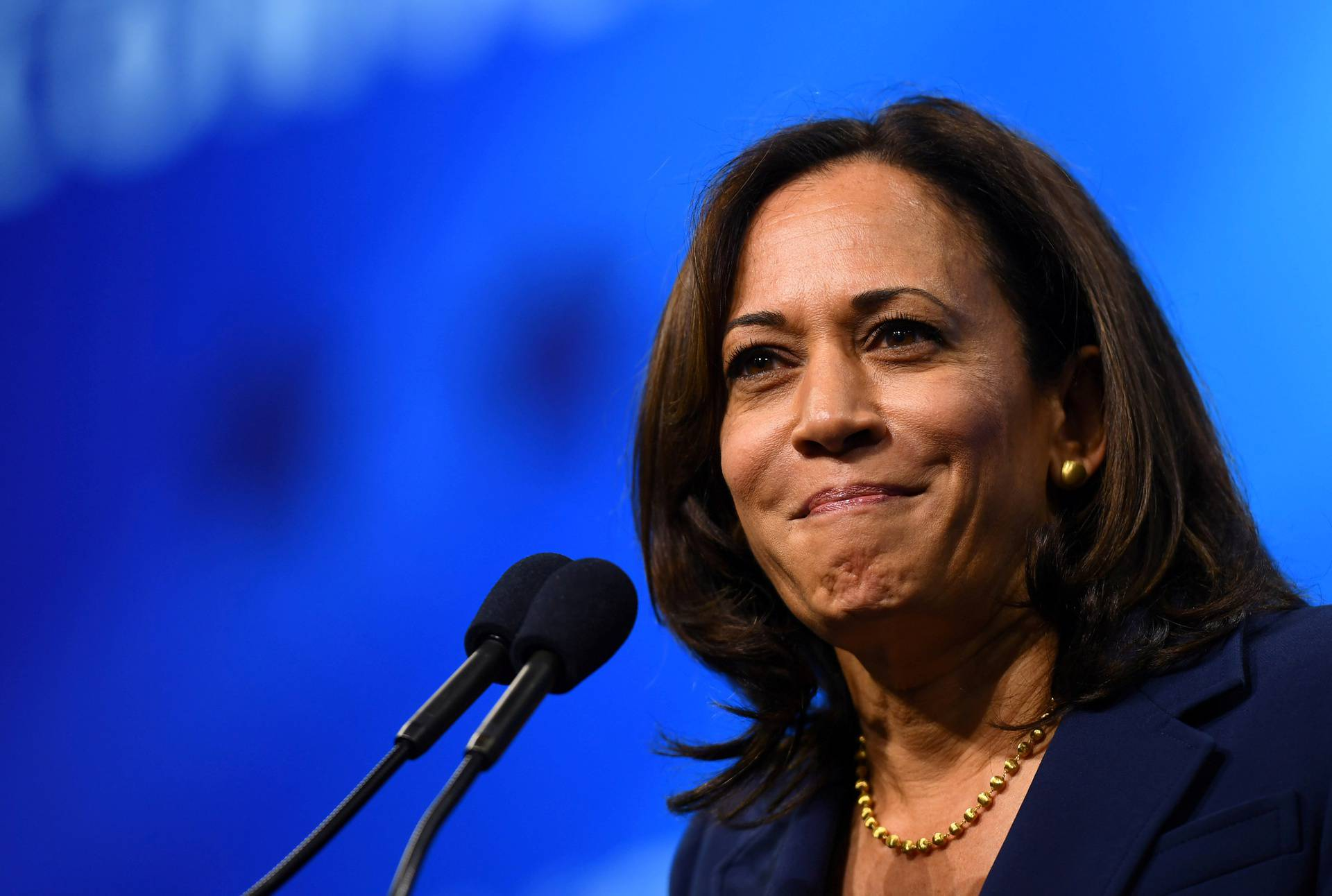 FILE PHOTO: Democratic 2020 U.S. presidential candidate and U.S. Senator Kamala Harris (D-CA) takes the stage at the New Hampshire Democratic Party state convention in Manchester