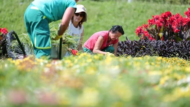 Zagreb: Djelatnice Zrinjevca uređuju cvjetnjake na Sveučilišnoj livadi