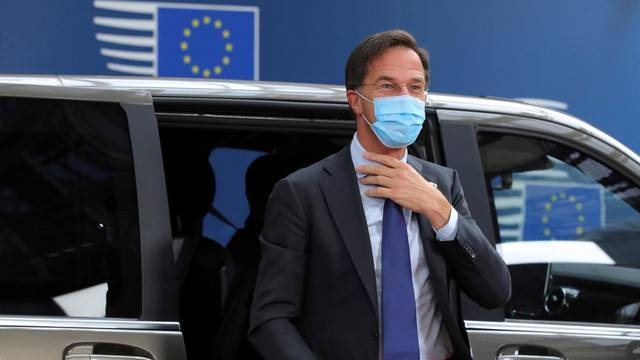 Dutch Prime Minister Mark Rutte arrives for an EU summit at the European Council building in Brussels