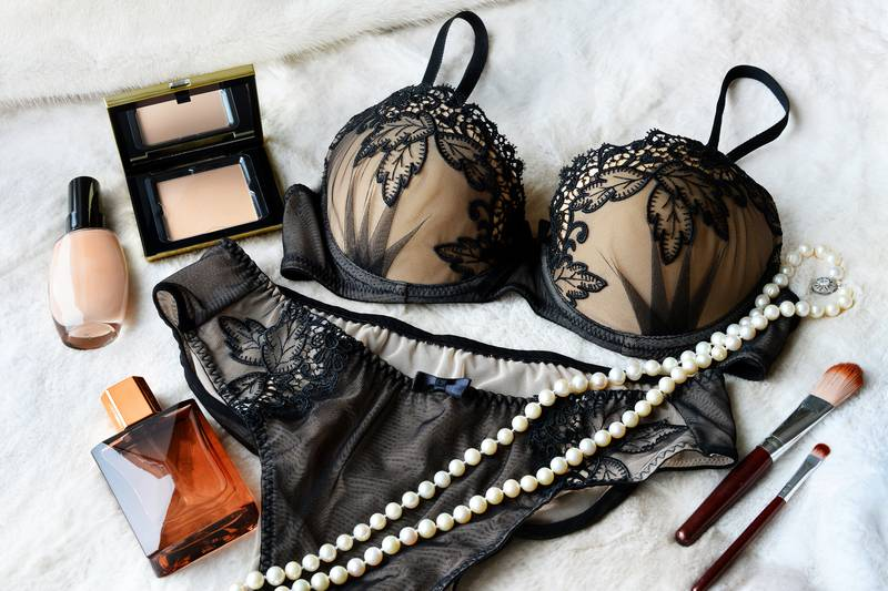 Women's lace sexy underwear is black color: bra and panties.