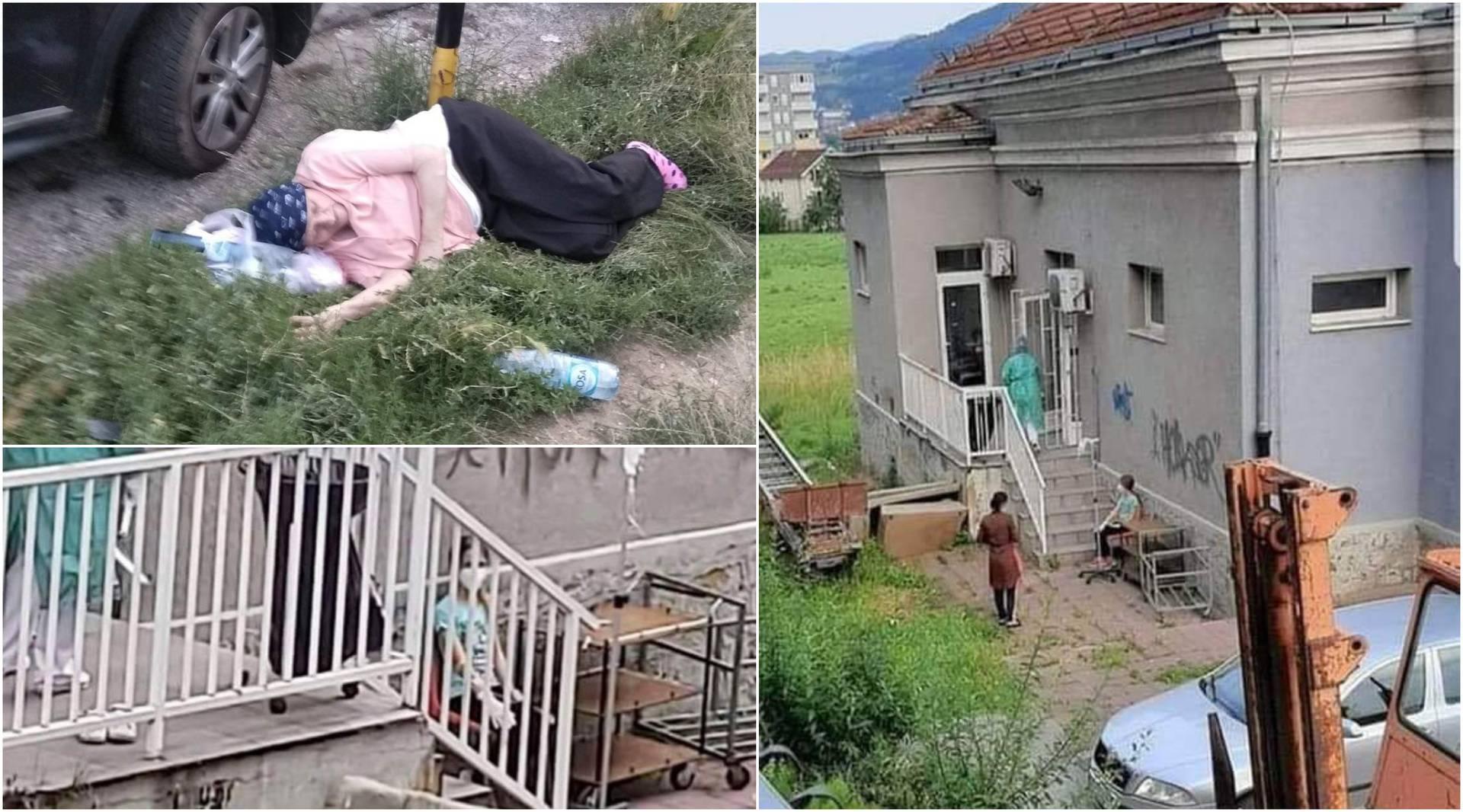 Staricu ostavili da leži na travi ispred bolnice, curica je infuziju primala vani pored stepenica...