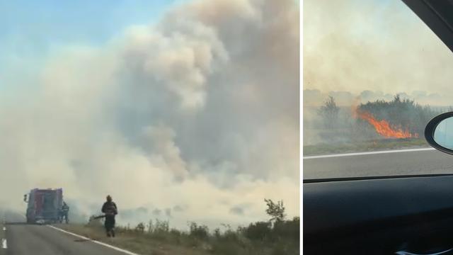 Velik požar kod Udbine, plamen se približio cesti: 'Kuće su bile ugrožene, ali smo ih obranili'