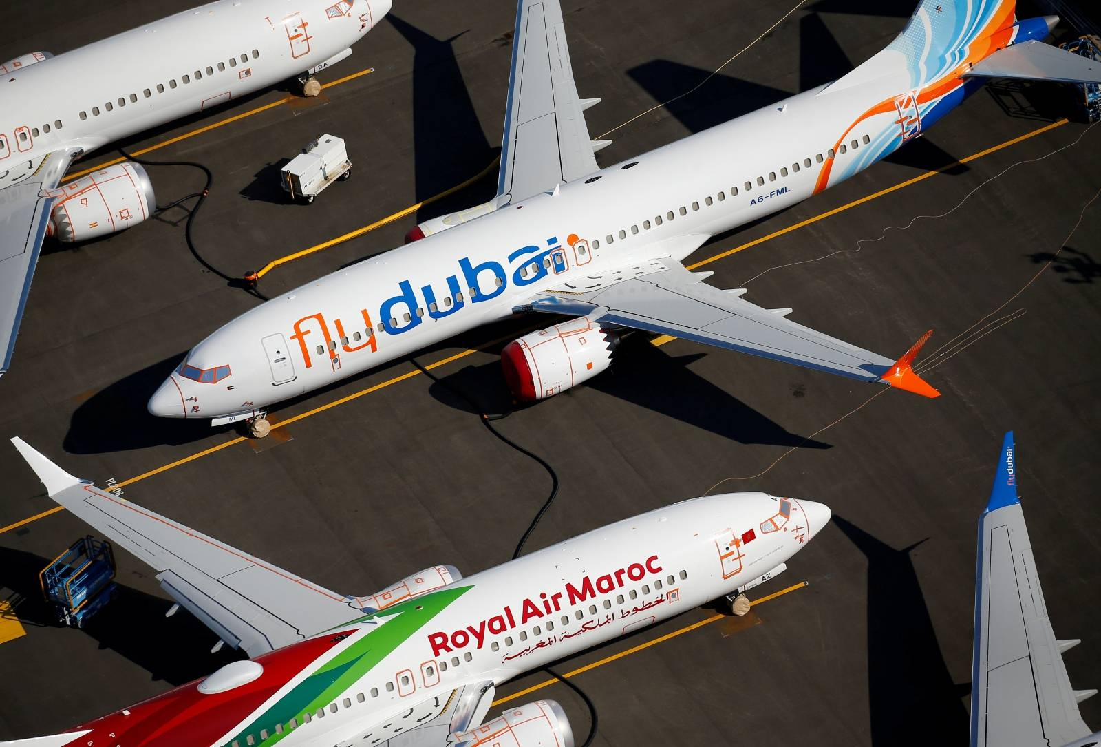 FILE PHOTO: Grounded flydubai and Royal Air Maroc Boeing 737 MAX aircraft are seen parked at Boeing Field in Seattle