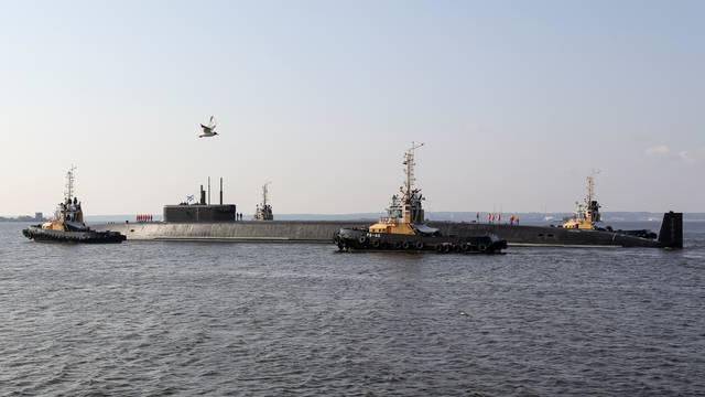 The nuclear-powered ballistic missile submarine K-549 Knyaz Vladimir is anchored ahead of the Navy Day parade in Kronstadt