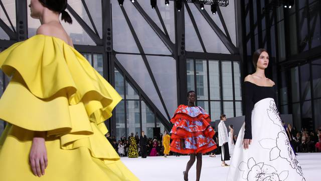 Models present creations from the Carolina Herrera Fall 2020 collection during New York Fashion Week