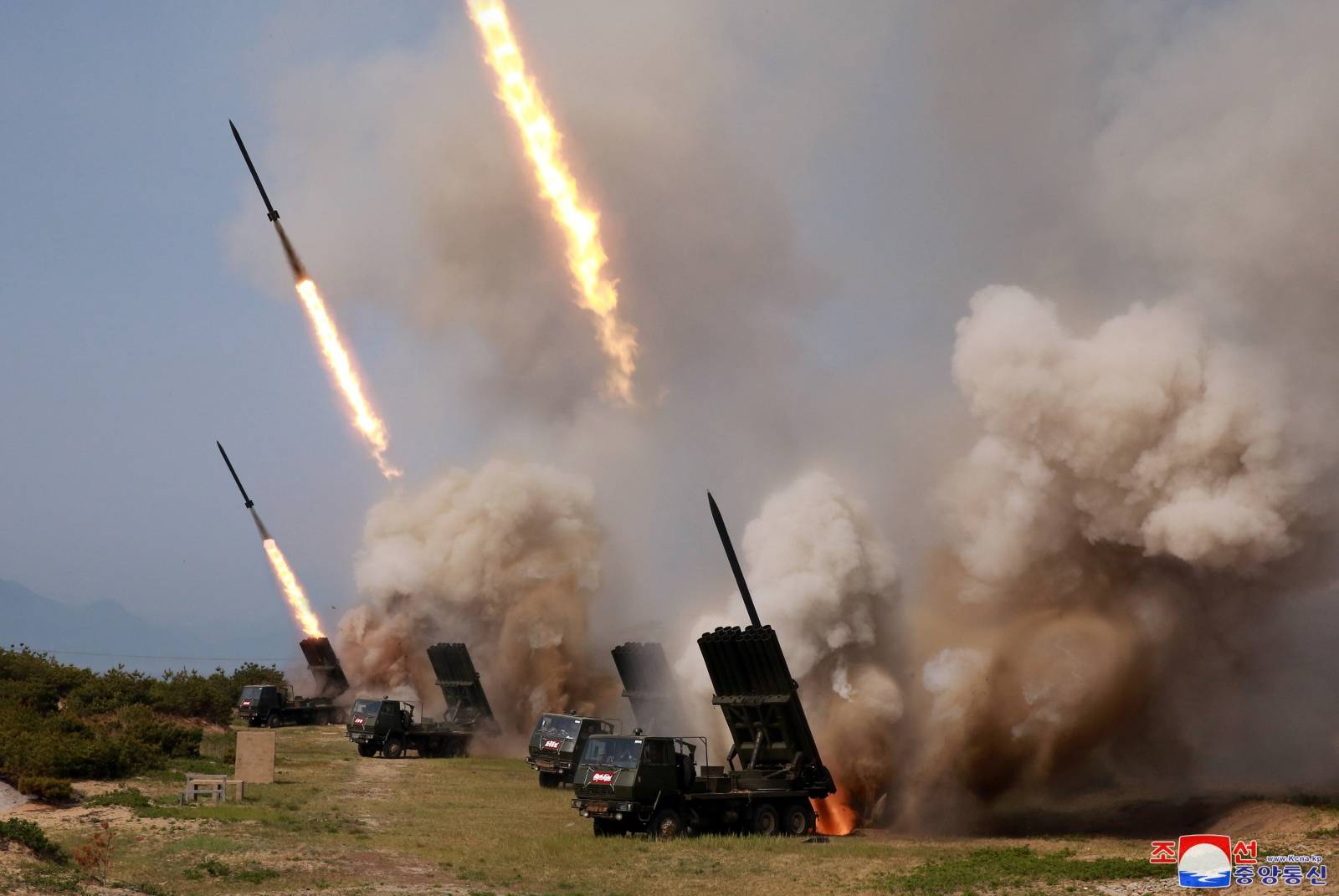 "North Korean military conducts a ""strike drill"" for multiple launchers and tactical guided weapon into the East Sea during a military drill in North Korea"