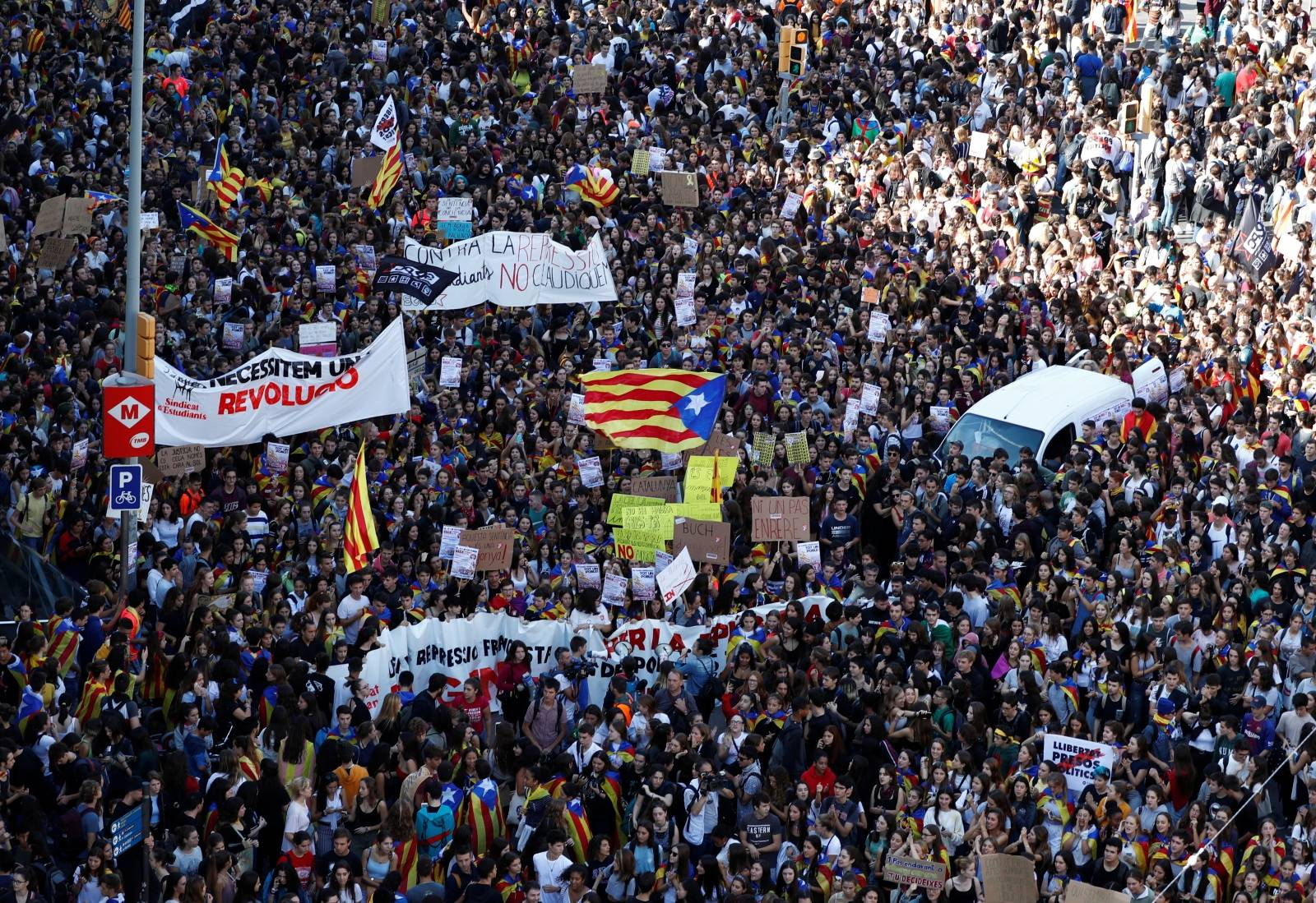 People gather for a protest in Barcelona
