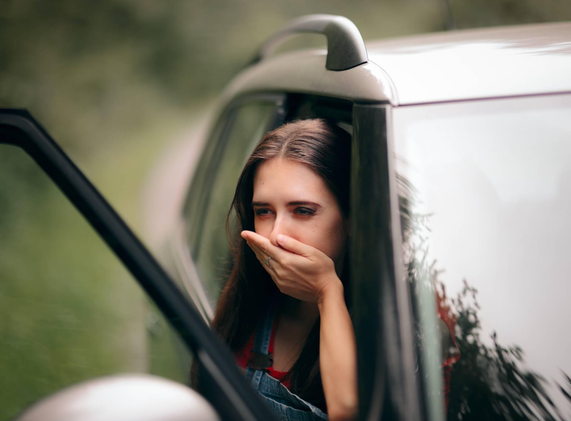 Car Sick Travel Woman with Motion Sickness Symptoms