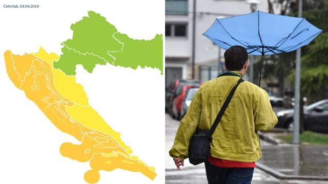 Meteoalarm izdao upozorenja za veći dio Hrvatske zbog kiše