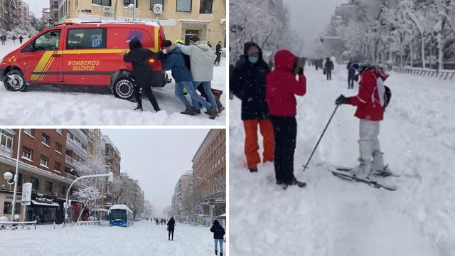 Snijeg paralizirao grad: Ljudi su zapeli u autima, po ulicama idu na skijama, ralica i lopata nema