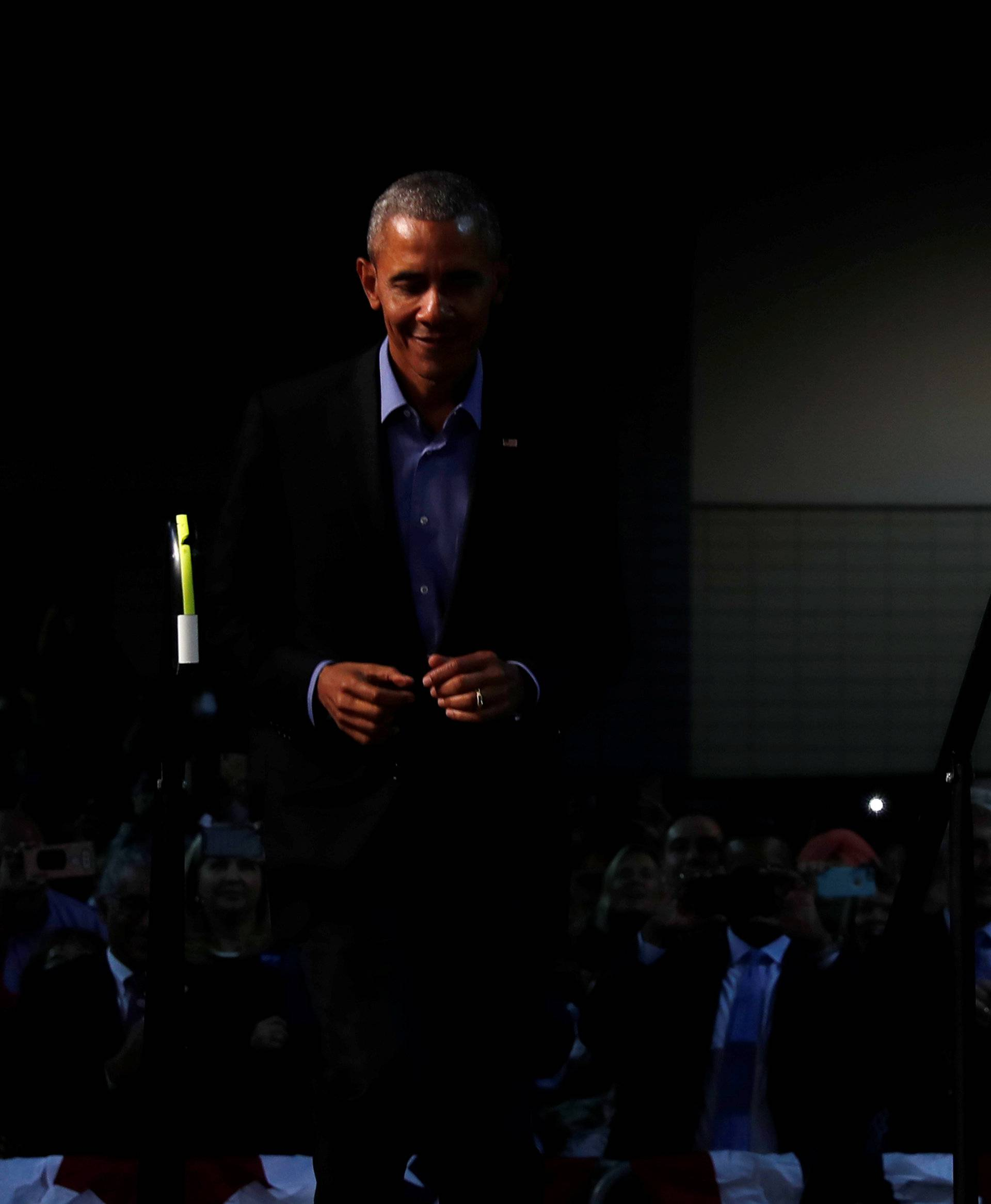 Obama campaigns in support of Northam at a rally with supporters in Richmond, Virginia