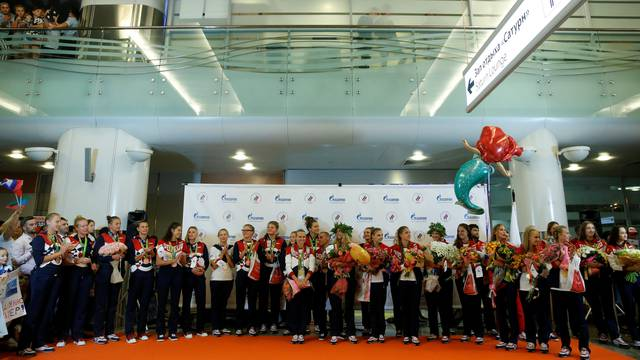 Members of Russian Olympic team attend welcoming ceremony as they return home from 2016 Rio Olympics at Moscow's Sheremetyevo Airport