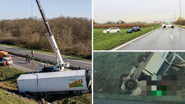 Crna subota: Teški sudar na A1, mladić se zabio u zid u Brelima, žena preminula kraj Čakovca...