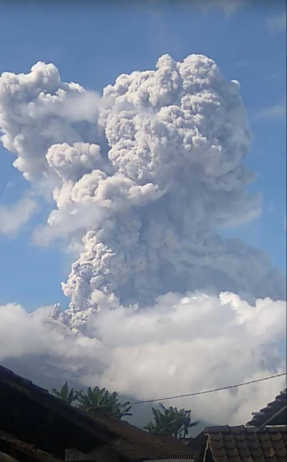 A column of ash rises following an eruption of Mount Merapi, Magelang, in Central Java