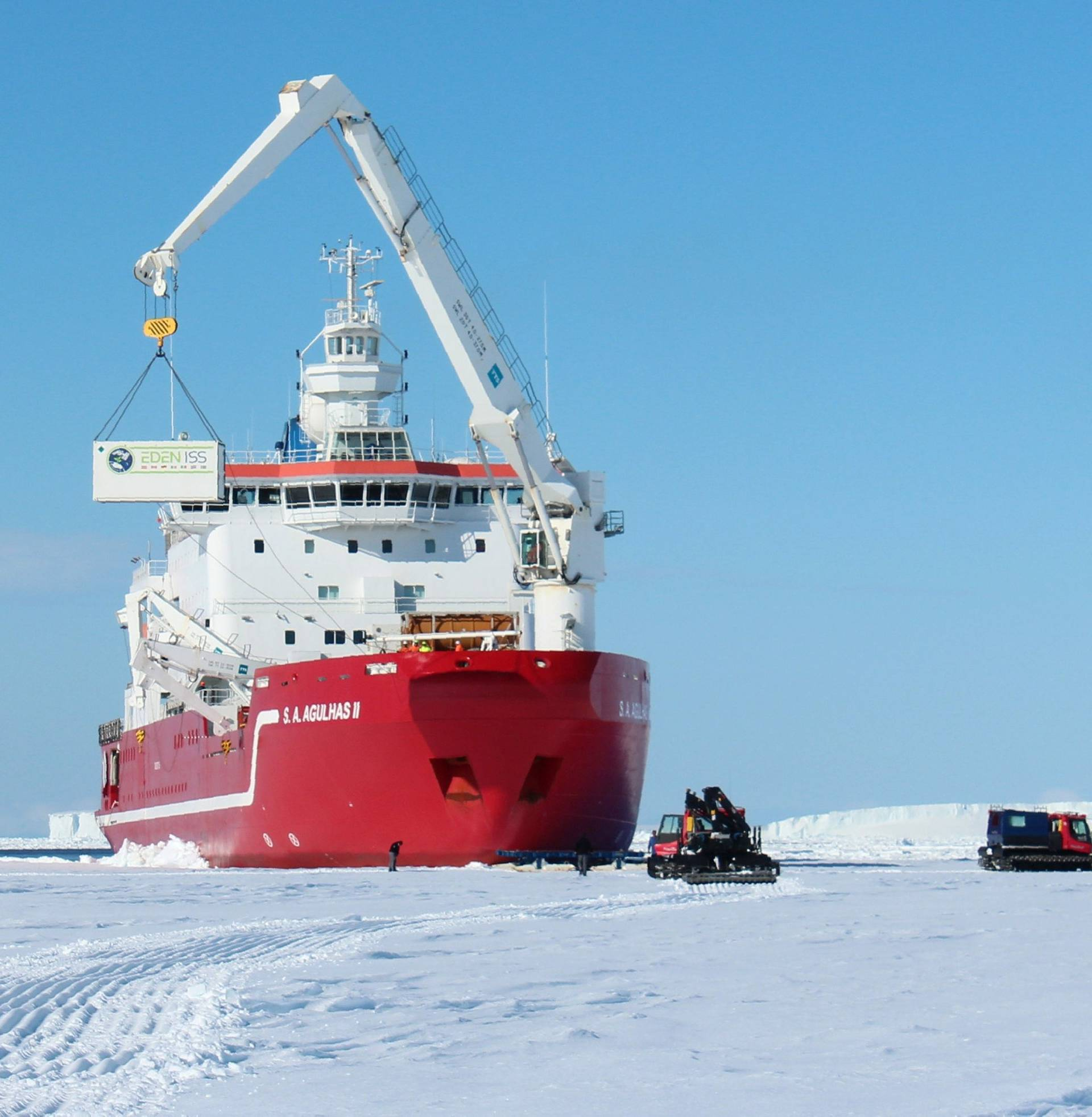 The EDEN ISS greenhouse is unloaded from the Agulhas II in the Antarctic