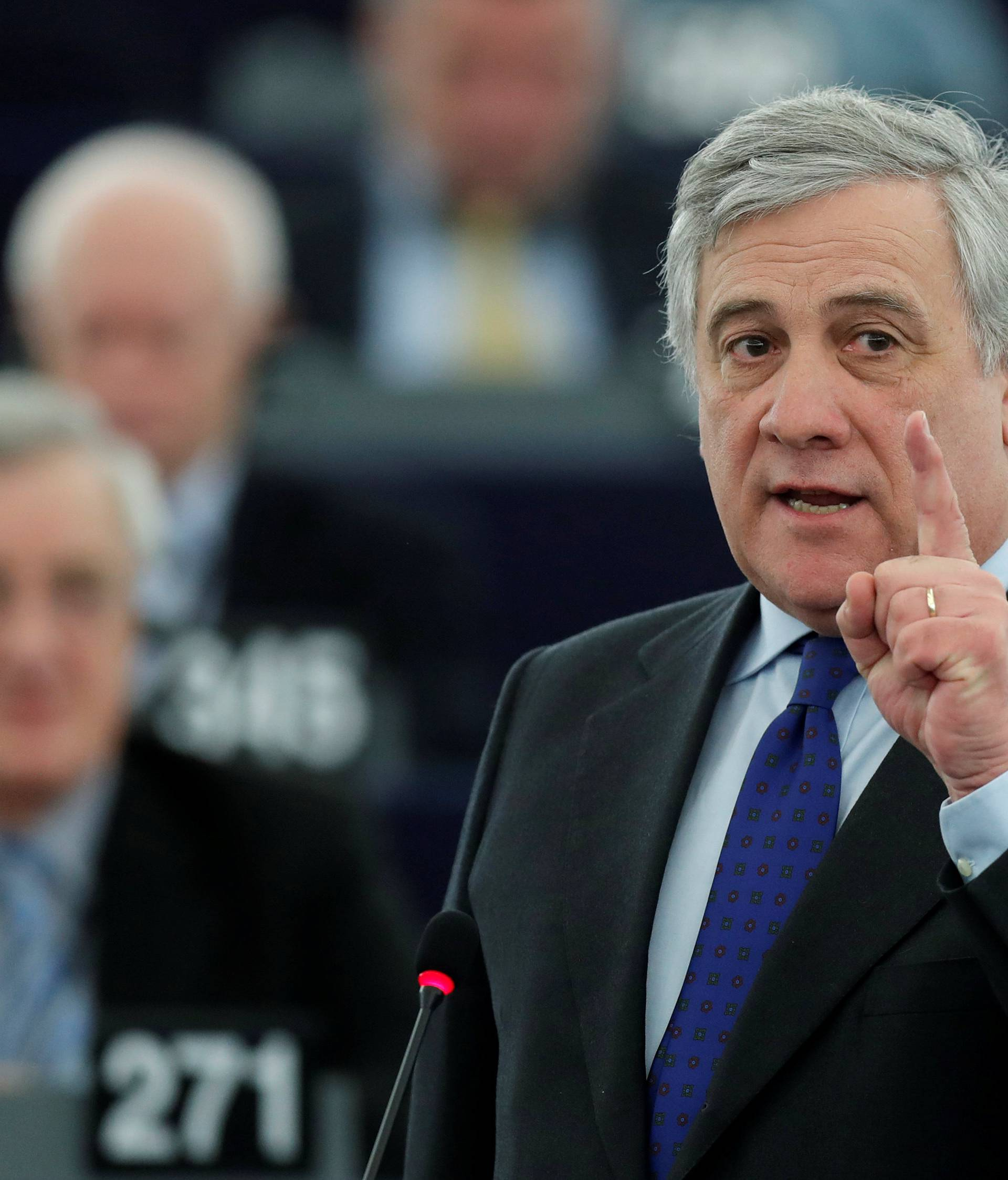 European Parliament's presidential candidate Tajani attends the presentation of the candidates for the election to the office of the President at the European Parliament in Strasbourg