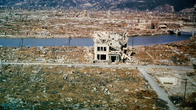 FILE PHOTO: A view of damage wrought by the atomic bomb in the city of Hiroshima