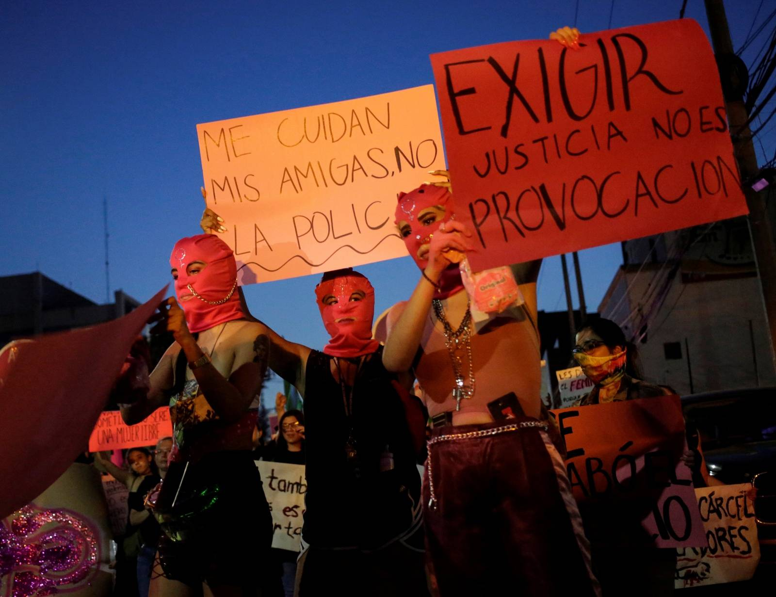 """Women demonstrate at the """"They Don't Protect Me, They Rape Me"""" protest to demand justice for two teenage girls that local media reported were apparently raped by policemen, in Monterrey"""