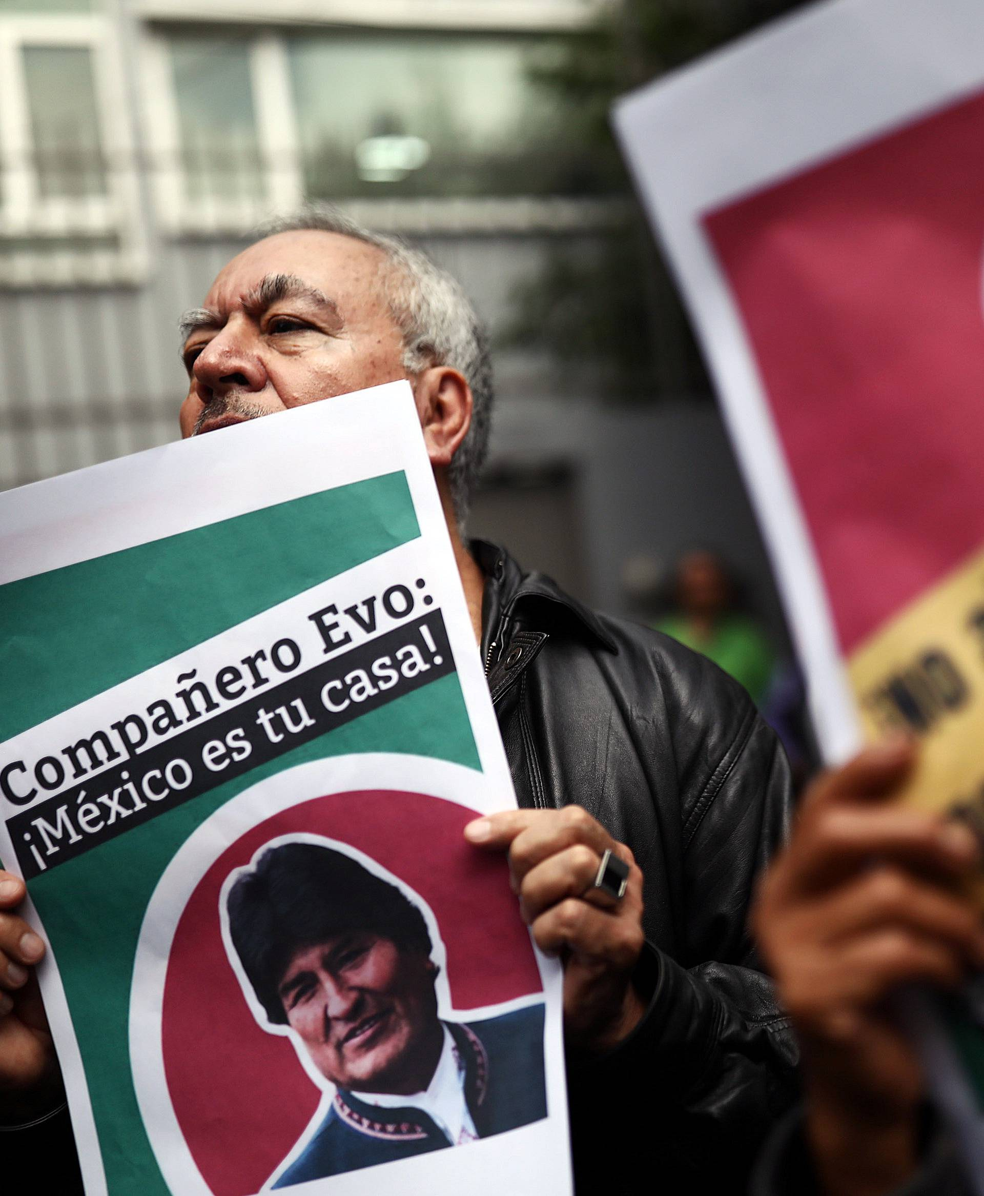 Demonstration in support of Bolivian President Evo Morales in Mexico City