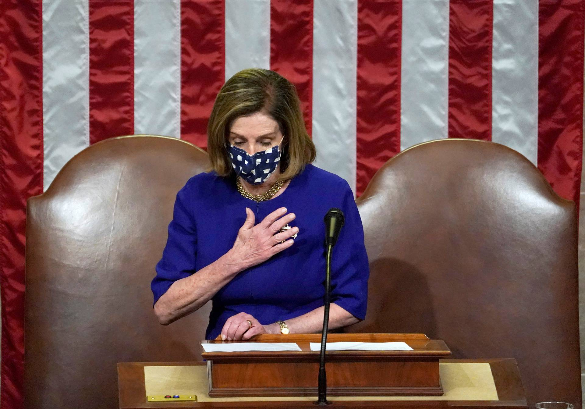 Speaker of the House Nancy Pelosi speaks during a joint session of Congress in Washington