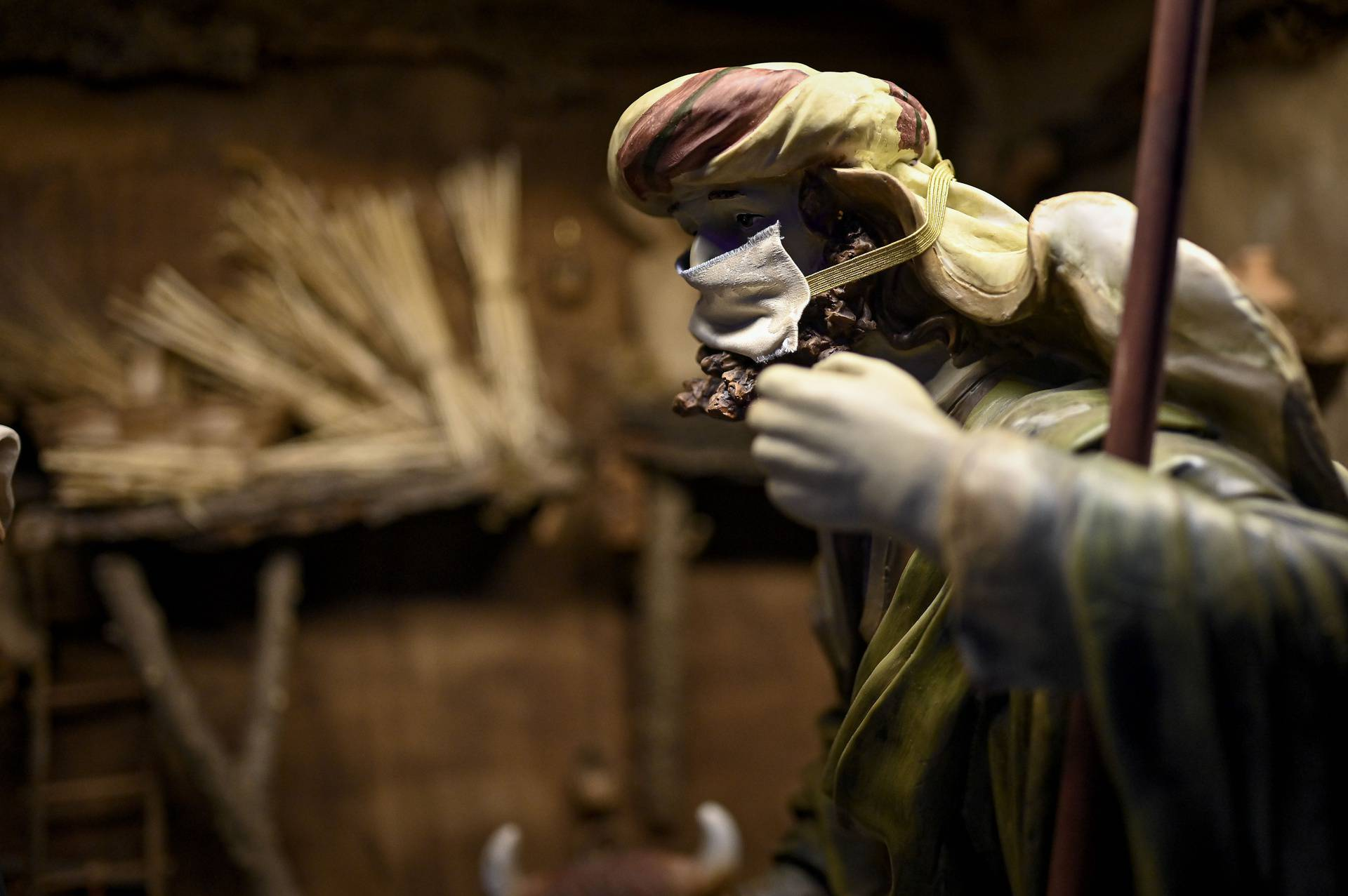 Turin. The crib in the cathedral with the characters with the mask for the Covid19 emergency