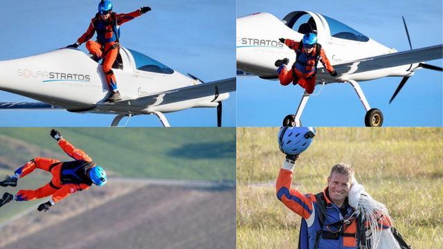 Prvi padobranac u avionu na solarni pogon