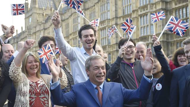 Nigel Farage, the leader of the United Kingdom Independence Party (UKIP), makes a statement after Britain voted to leave on the European Union in London