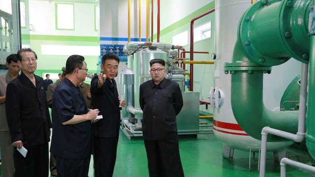 North Korean leader Kim Jong Un gives field guidance to the newly-built Medical Oxygen Factory