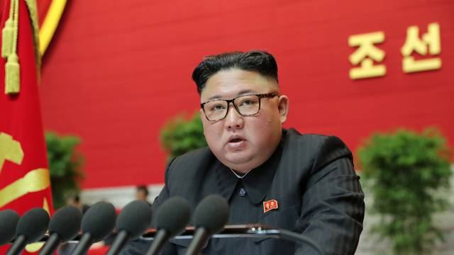 North Korean leader Kim Jong Un speaks during the 8th Congress of the Workers' Party in Pyongyang