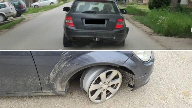 U Mirkovcima ulovili vozača, bio je toliko pijan da nije ni shvatio da vozi na dvije felge