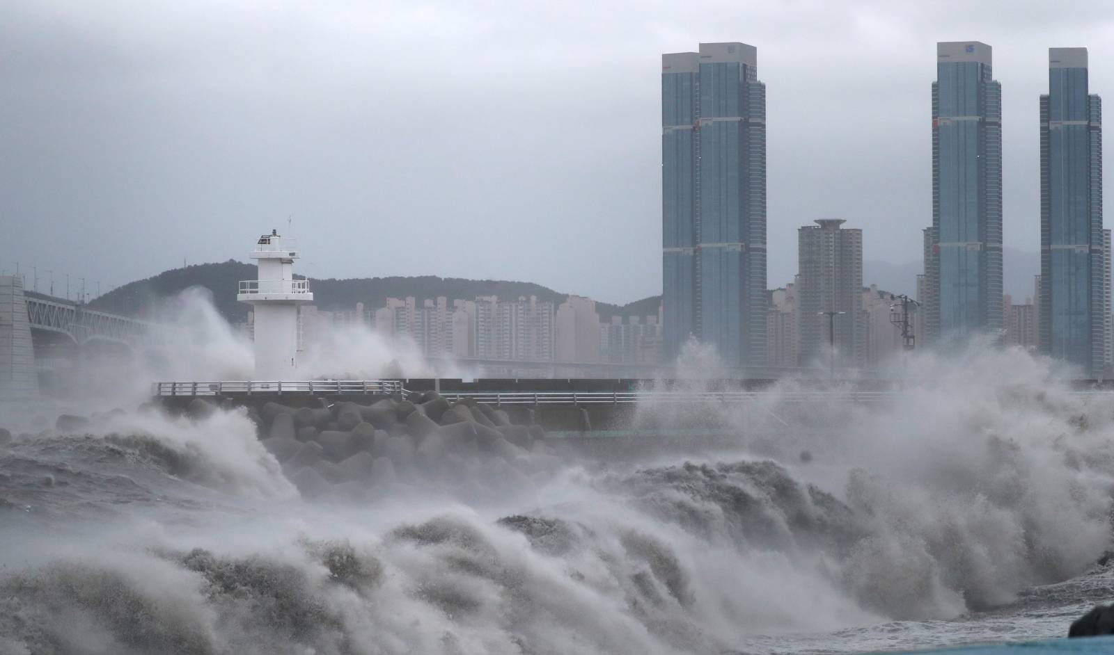 High waves caused by Typhoon Haishen crash at seawall in Busan