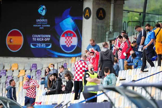 Zagrijavanje nogometaša uoči početka utakmice Španjolska - Hrvatska