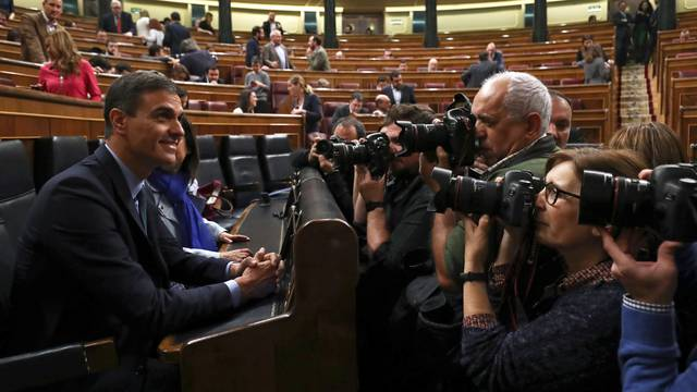 Spain's Prime Minister Pedro Sanchez attends a session at Parliament in Madrid