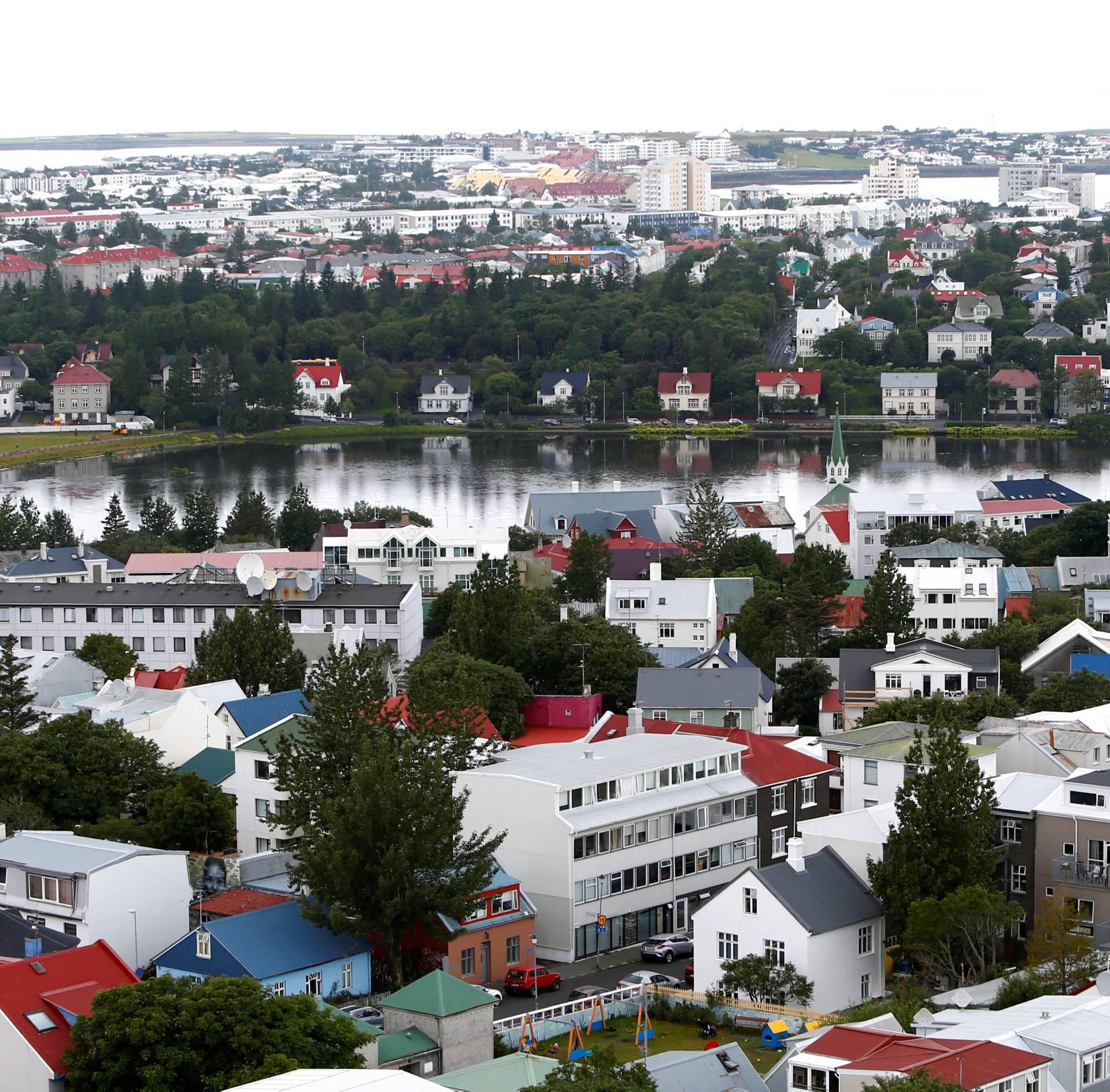 General view shows city of Reykjavik, seen from Hallgrimskirkja church