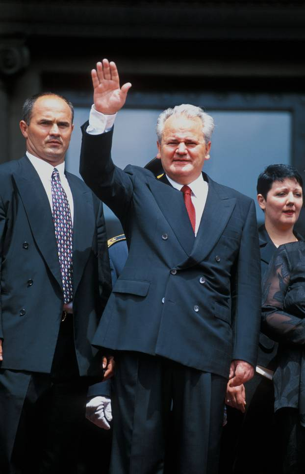 Slobodan Milosevic greets supporters shortly after his inauguration in Belgrade Serbia on 23 July 1995