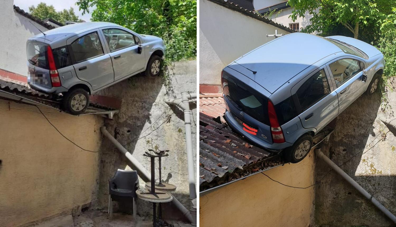 'Parkirao' na krov u Zagrebu: Vozio unazad i  pao na skladište