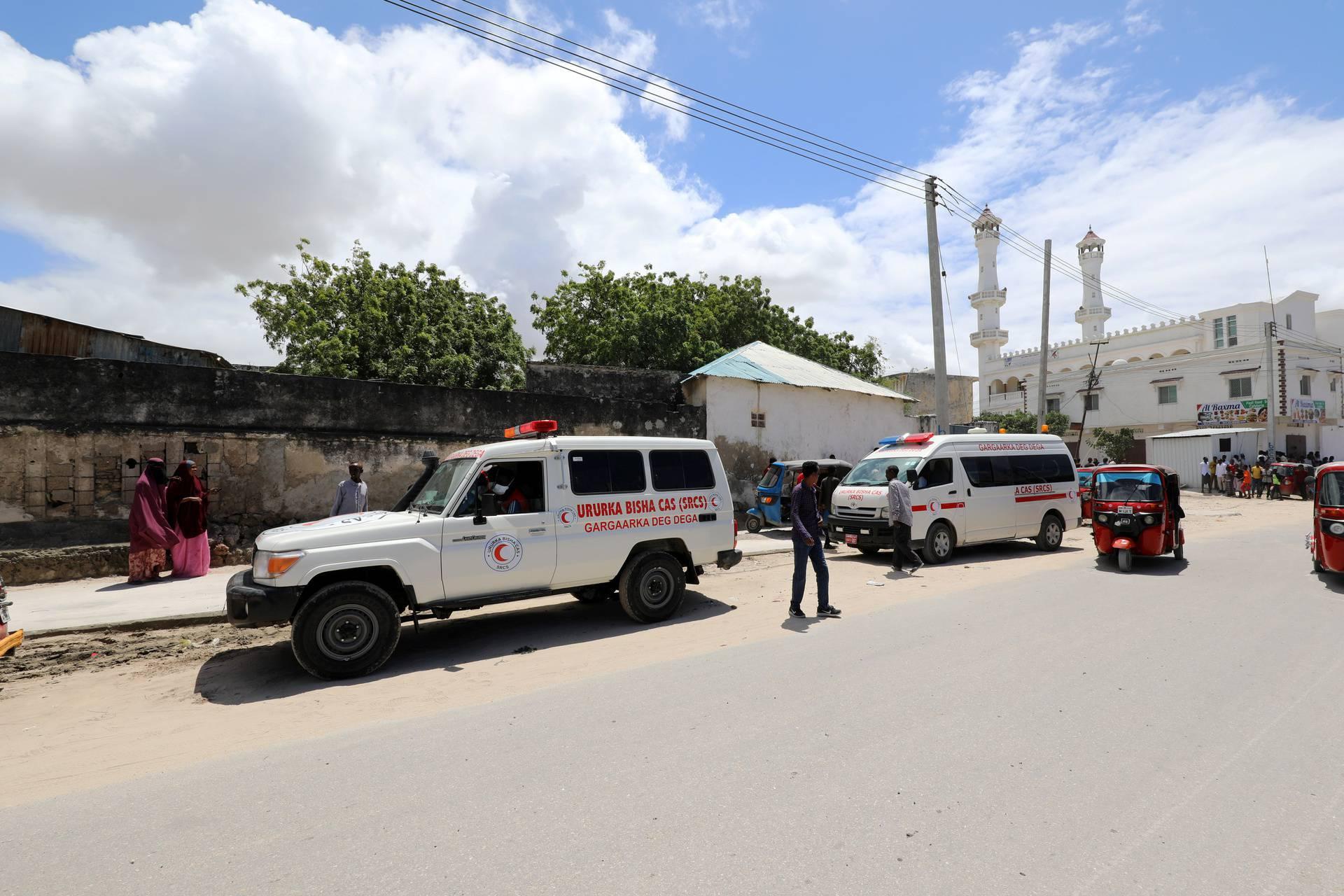 Ambulance is seen near blast site in Mogadishu