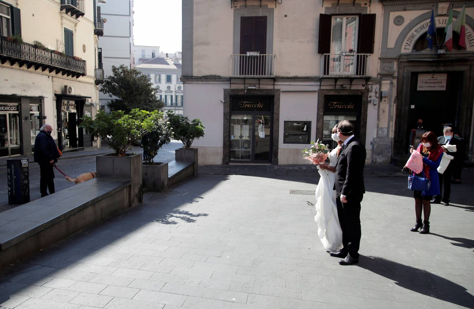 Wedding ceremony during Italy's lockdown in Naples
