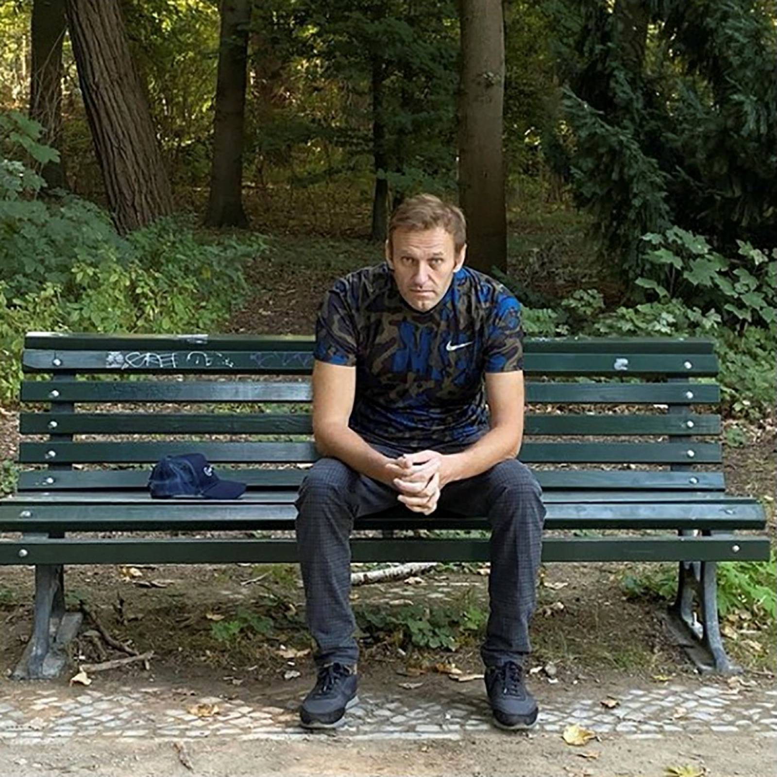 Russian opposition politician Alexei Navalny poses for a picture in Berlin