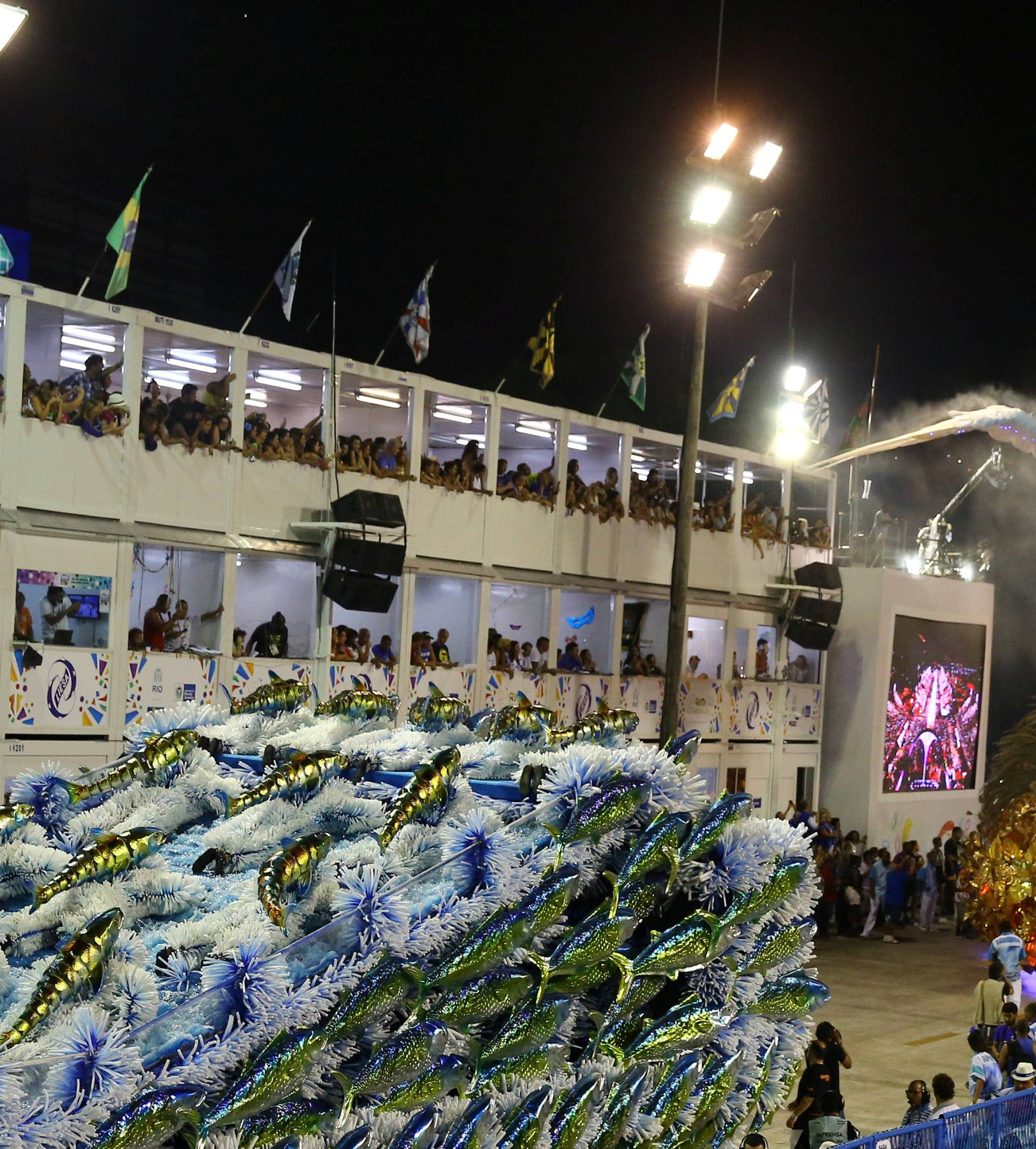 Revellers from Portela samba school perform during the second night of the carnival parade at the Sambadrome in Rio de Janeiro