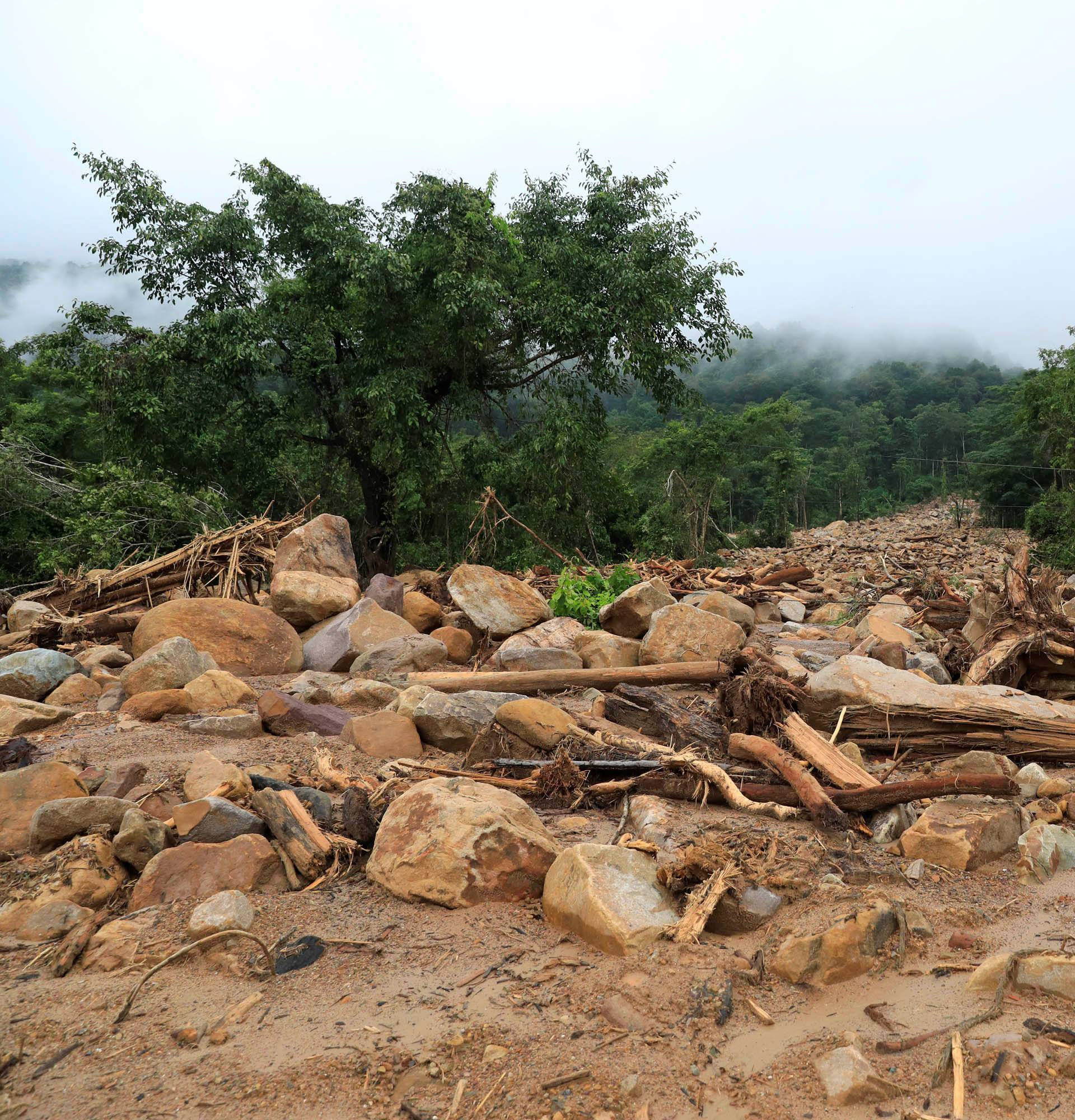 Debris is seen in an area affected by landslide after the Xepian-Xe Nam Noy hydropower dam collapsed in Attapeu