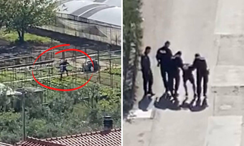 Video potjere: Izgurao policajca na motoru, pa bježao kroz polje