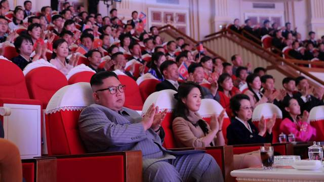 North Korean leader Kim Jong Un watches a performance in Pyongyang