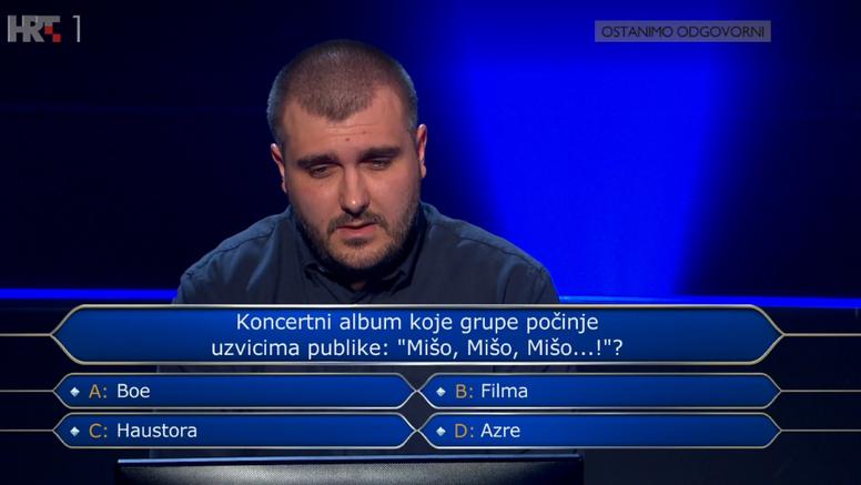 Pao je na glazbenom pitanju za 64.000 kuna: Kobno ime Mišo
