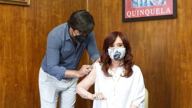 Argentine Vice-President Cristina Fernandez de Kirchner gets vaccinated with the Sputnik V (Gam-COVID-Vac) vaccine