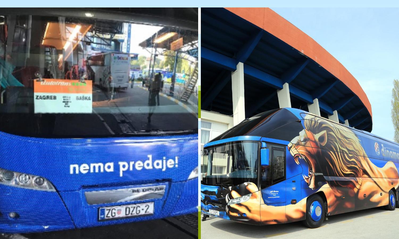 Autobus koji ponekad koristi Dinamova druga momčad vozi na relaciji Zagreb - Baška