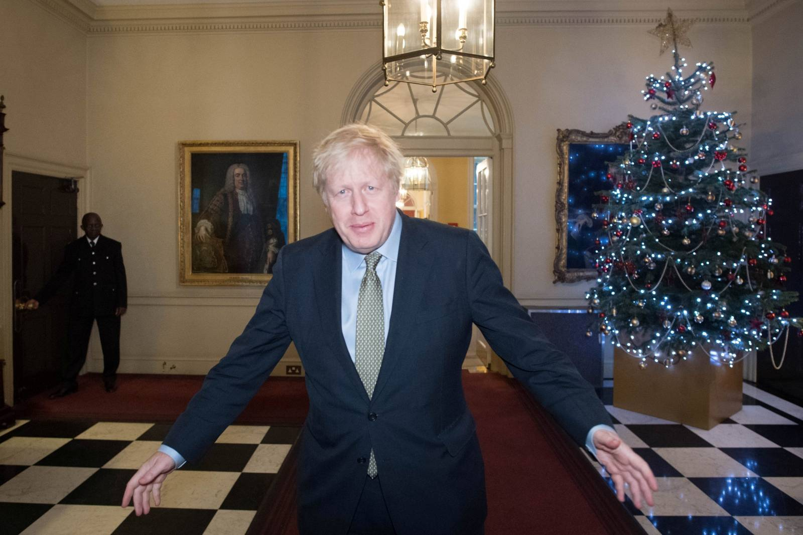 Britain's PM Johnson leaves Downing Street for Buckingham Palace, London