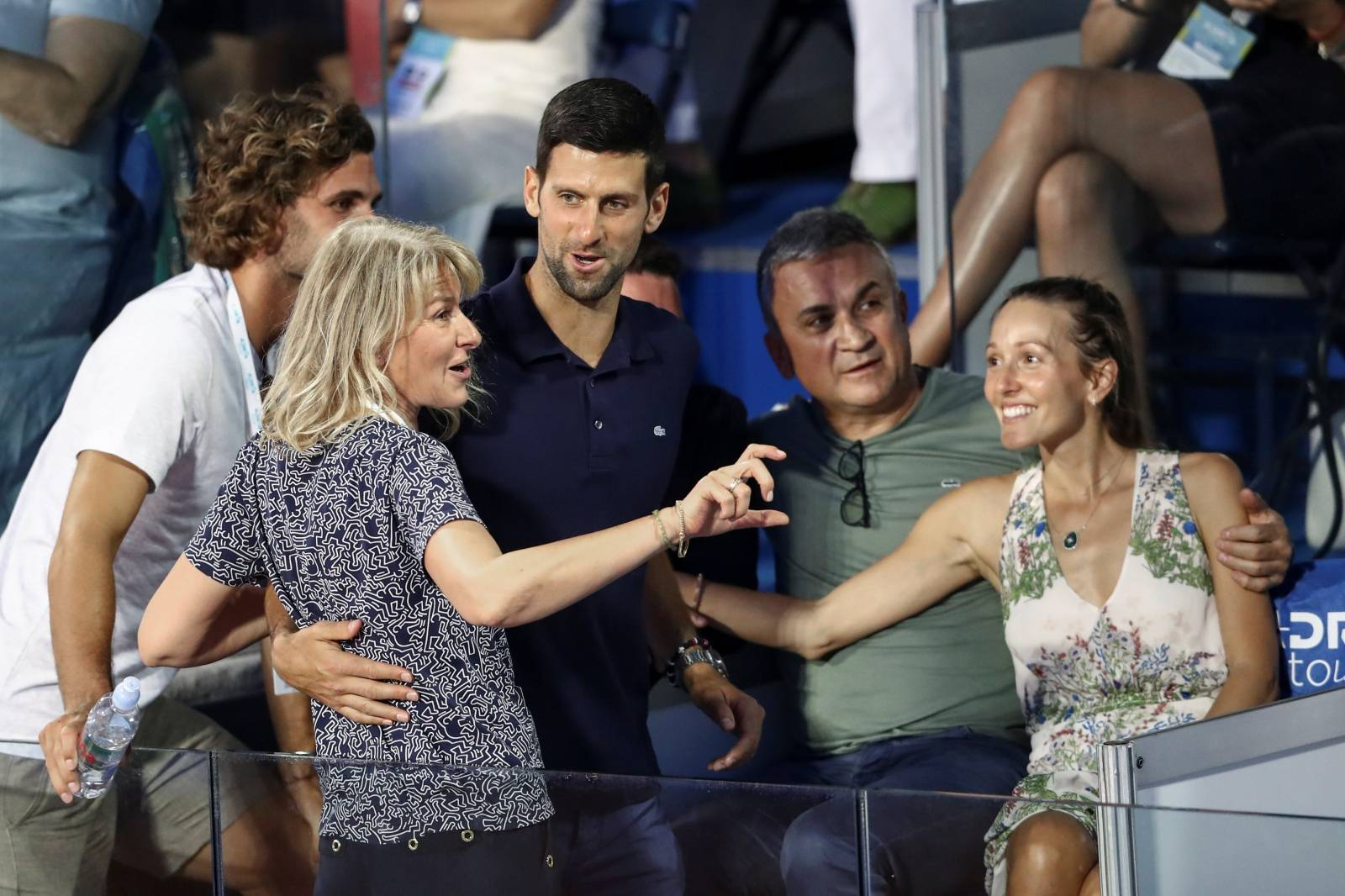 Serbia's Novak Djokovic with his wife Jelena, his father Srdjan, his mother Dijana and his brother Marko in the stands during Adria Tour at Novak Tennis Centre in Belgrade