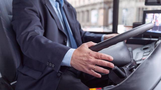 Close up of bus driver