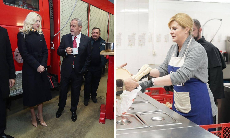 Bandić je za Novu obišao hitne službe, Kolinda u pučkoj kuhinji